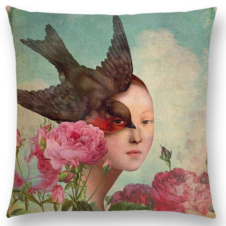 Girl with Bird & Roses Pillow