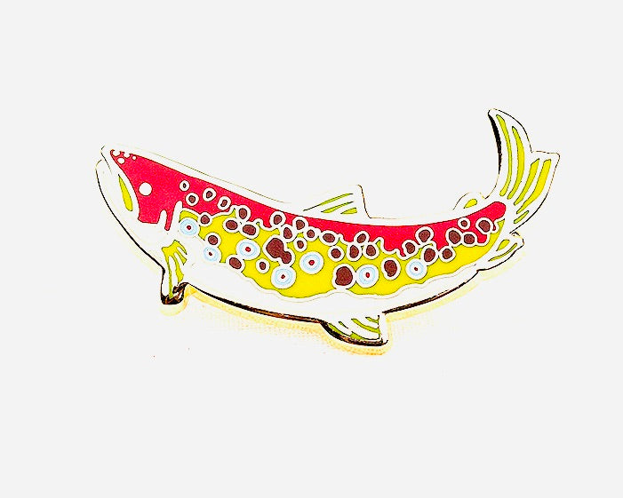 Truman the Little Brown Trout Cloisonné Pin
