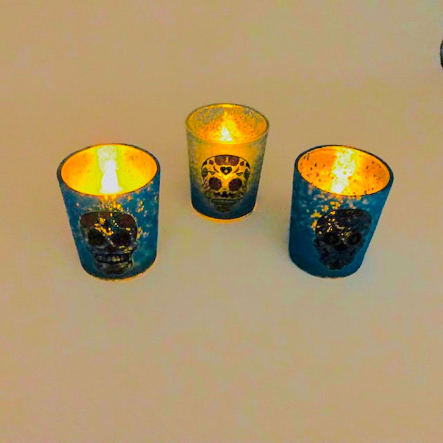 Sugar Skull Votive Mercury Glass Assortment