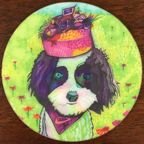 Pillbox Hat Pup Coaster - 4 Pack - Solveig Studio