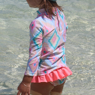 Girl's long sleeve UPF50+ rashguard Rainbow