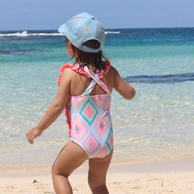 One piece swimsuit Girls COCOI rainbow family sun safe UPF50+ sun protective rashguard rash vest swimwear
