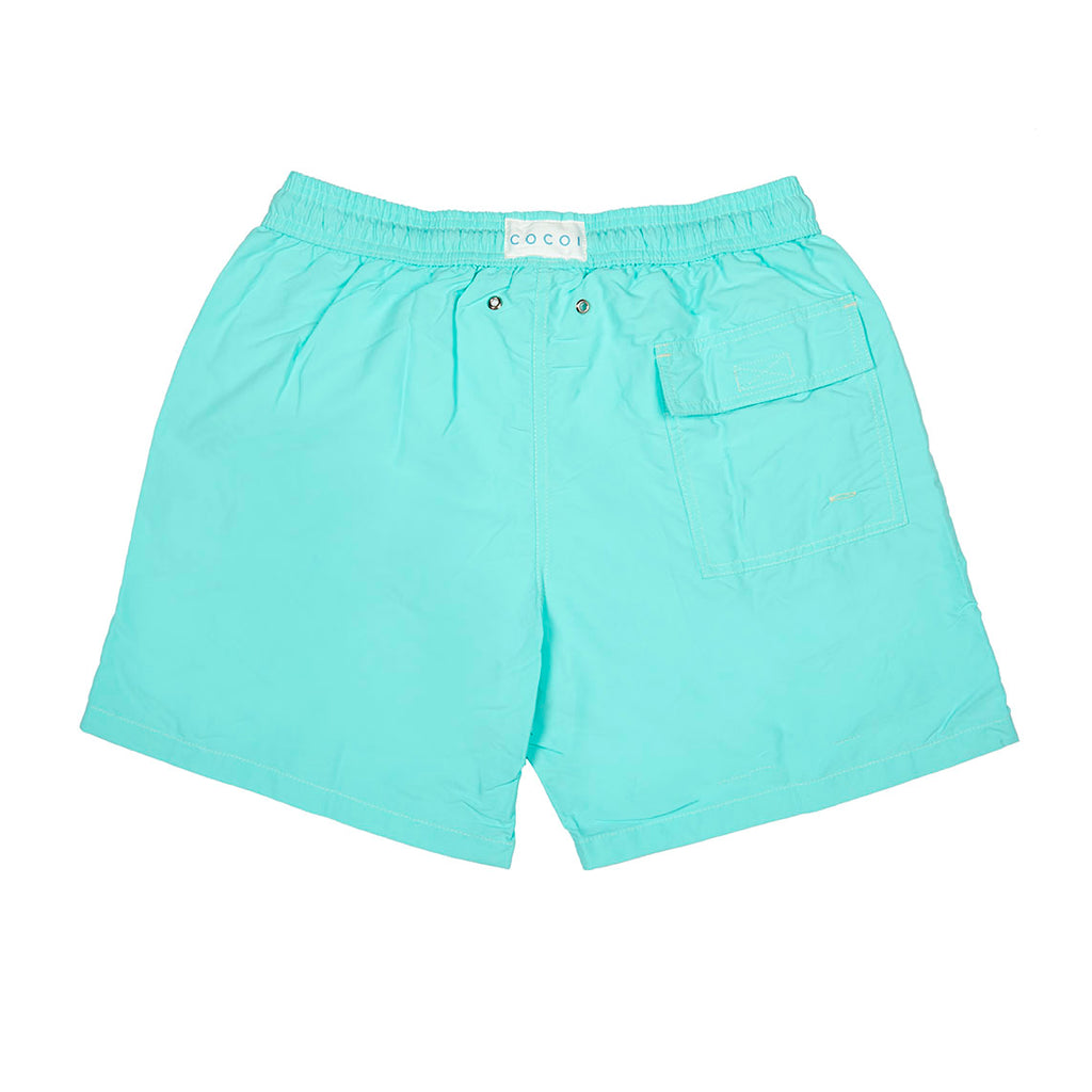 Spring men swimshort swimming trunks family swimwear cocoi swim turquoise back
