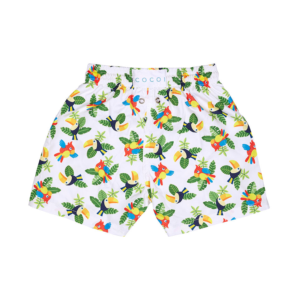 Toucans parrots swimshorts swim cocoi swim boys children kids family swimwear swimming trunks back