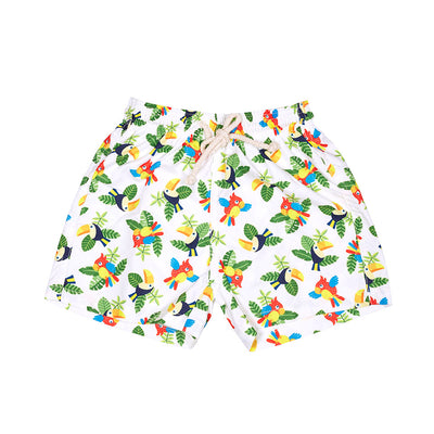Toucans parrots swimshorts swim cocoi swim boys children kids family swimwear swimming trunks front