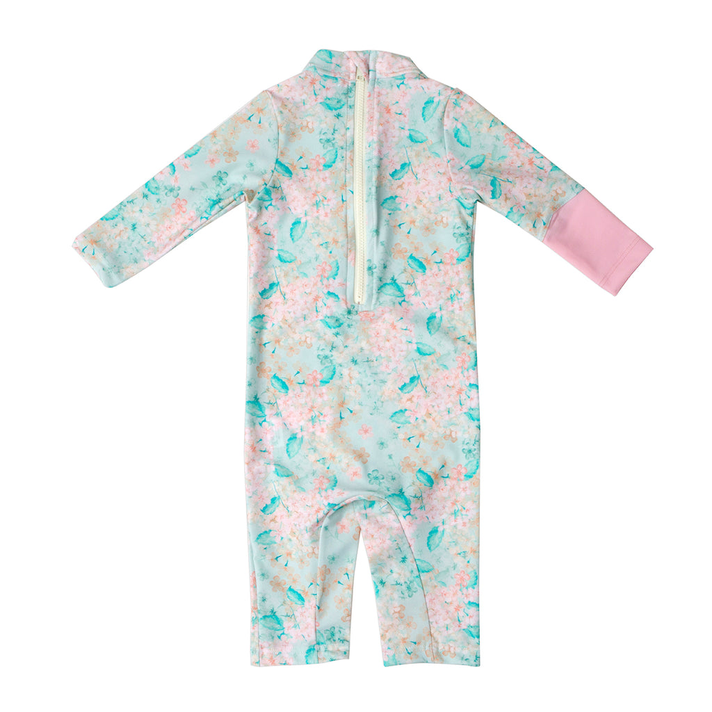 Girls baby rashguard COCOI family style chic UPF50+ sunsafe swimwear sun protective rash vest lycra swim floral spring flowers pink front bodysuit sunsuit wetsuit