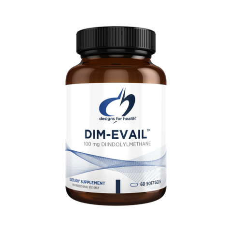 A bottle of DIM-Evail has 60 or 120 softgel capsules to be taken daily. Metabolize estrogen more efficiently with DIM