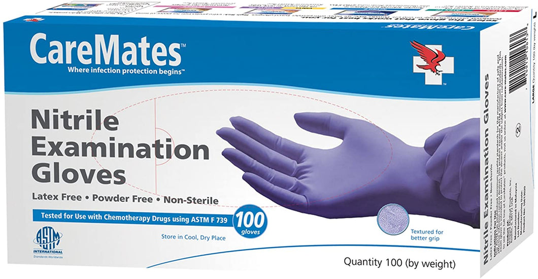 CareMates Nitrile Examination Gloves, Powder Free, Large- 100ct