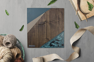 Geometric Wood Wall Art, Homestead Blue | Espresso