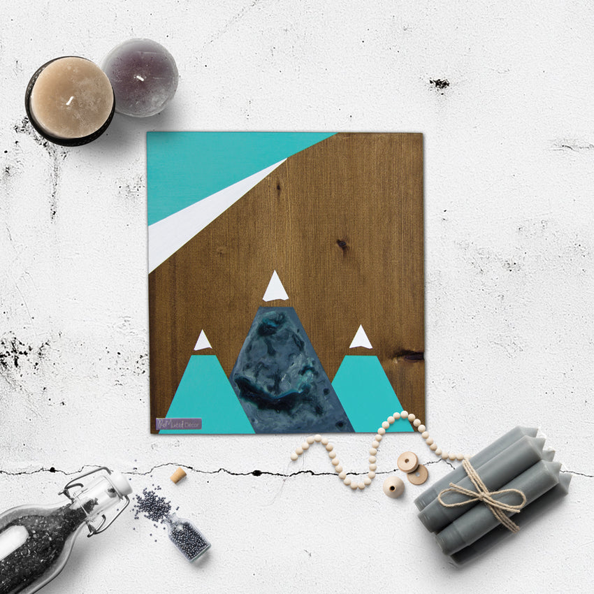 Mountain Wood Wall Art, Azure | Walnut
