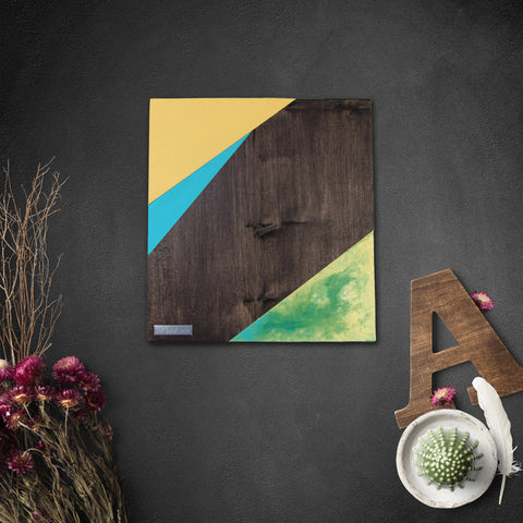 Geometric Wood Wall Art, Prairie Sunset | Espresso