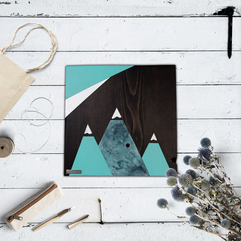 Mountain Wood Wall Art, Azure | Espresso