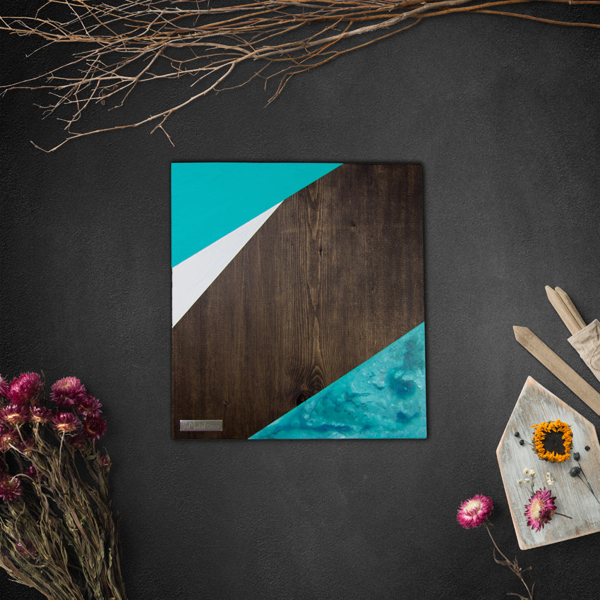 Geometric Wood Wall Art, Azure | Espresso