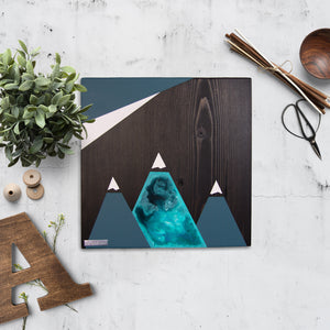 Mountain Wood Wall Art, Homestead Blue | Espresso