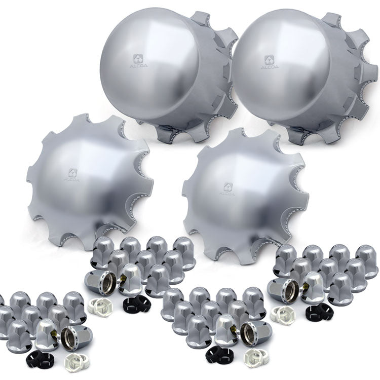 4 Rounded Alcoa Hub Covers with 40 Hug-a-Lug Nut Covers