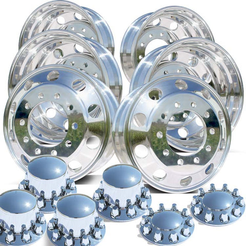 22.5 Polished Northstar Tandem Axle Wheel Kit