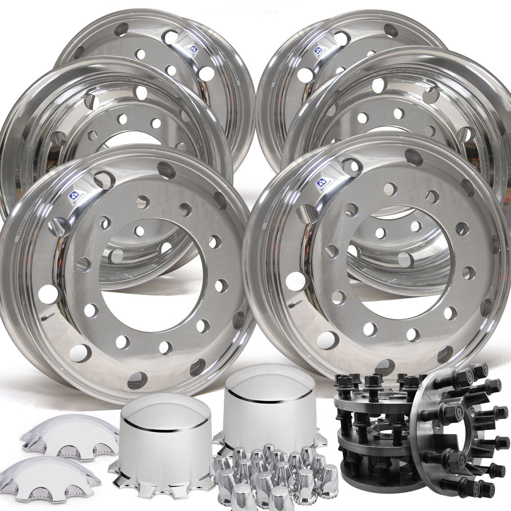 8 to 10 lug Adapter Kit (Dodge Ram 3500 DRW 1993-Older) w/ Alcoa 19.5 Wheels