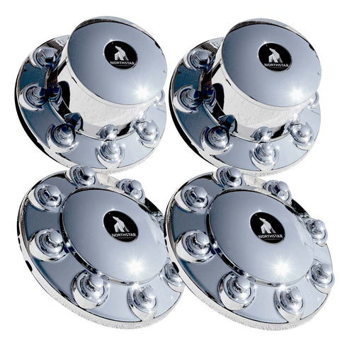 Chrome Hub Cover Kit 8x275mm 33mm Nut Direct Screw On