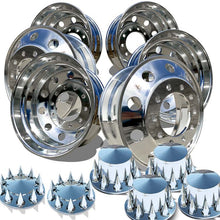 Load image into Gallery viewer, Accuride's 22.5x8.25 Quantum 99™ High Polished Wheels With Pointed Spiked Lug Nut Covers