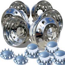 Load image into Gallery viewer, Accuride's 22.5x8.25 Quantum 99™ High Polished Wheels With Rounded Regular Lug Nut Covers