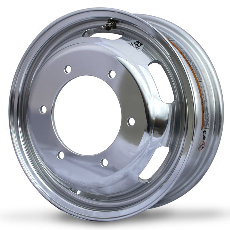 "Front Wheel, 16.5"" x 5.5"" Alcoa Dura-Bright EVO Aluminum. Has 6 Lug holes and 205mm Bolt Circle with 161.1mm Bore Diameter."
