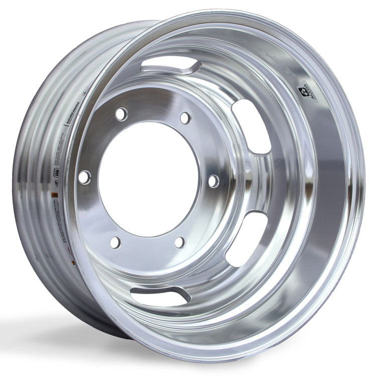 "Rear Wheel, 16.5"" x 5.5"" Alcoa Dura-Bright EVO Aluminum. Has 6 Lug holes and 205mm Bolt Circle with 161.1mm Bore Diameter."