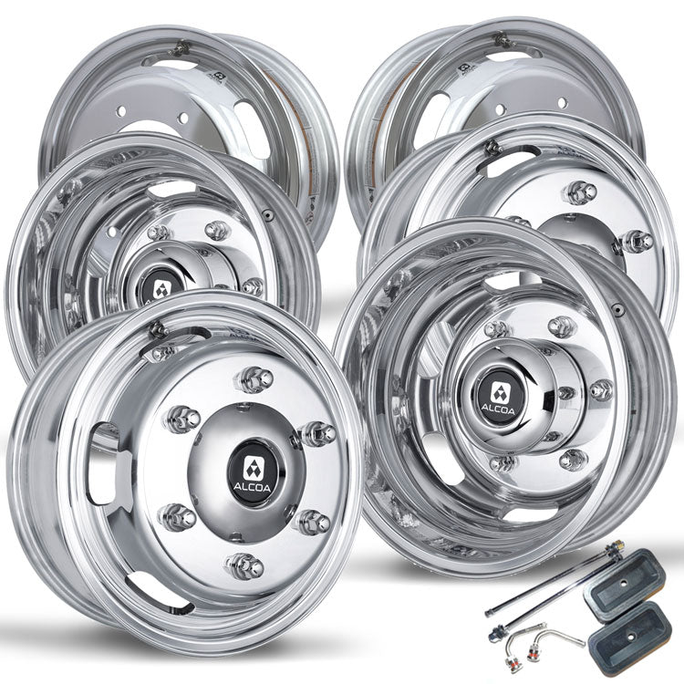"Full Kit with 4 16.5"" x 5.5"" Alcoa Dura-Bright EVO Aluminum Wheels and 2 Alcoa Inner Rear Wheels. Kit Includes Valve Stems."