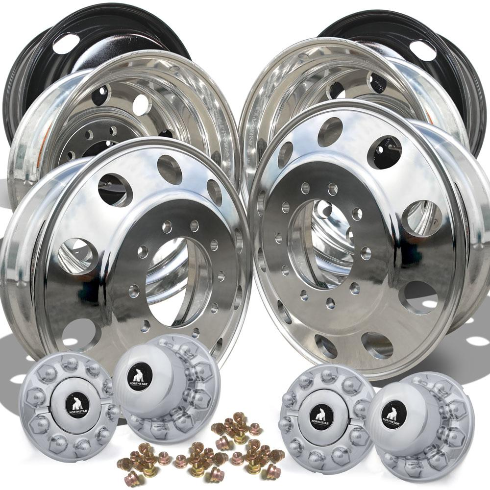 22.5 Aluminum Polished Ford F450/F550 Wheel Kit (10x225)