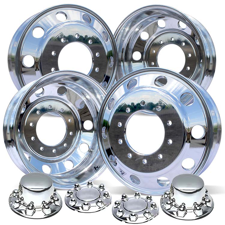 19.5 Accuride High Polished Both Sides 2008-Present Dodge RAM 4500/5500 DRW 10x225mm 4 Wheel Kit