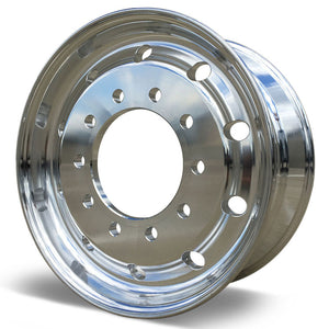 22.5x9.00 Accuride 10x285mm Hub Pilot Standard Polish Flat Face Front