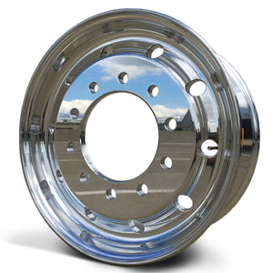 22.5x9.00 Accuride 10x285mm Hub Pilot High Polish Flat Face Front