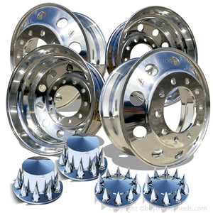 22.5 Accuride High Truck Wheels Chrome Spiked Lug & Hub Covers