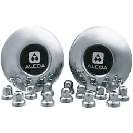 2 Alcoa Stainless Steel Front Dual Hub Covers for Sprinter with 12 Stainless Steel Alcoa Lug Nut Covers
