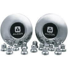 Load image into Gallery viewer, 2 Alcoa Stainless Steel Front Dual Hub Covers for Sprinter with 12 Stainless Steel Alcoa Lug Nut Covers