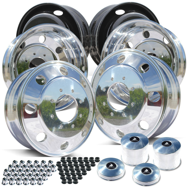 "19.5x6.75 Northstar Mirror Polished Both Sides 1994-2018 Dodge Ram 3500 DRW 8x6.5"" 6 Wheel Direct Bolt Kit"