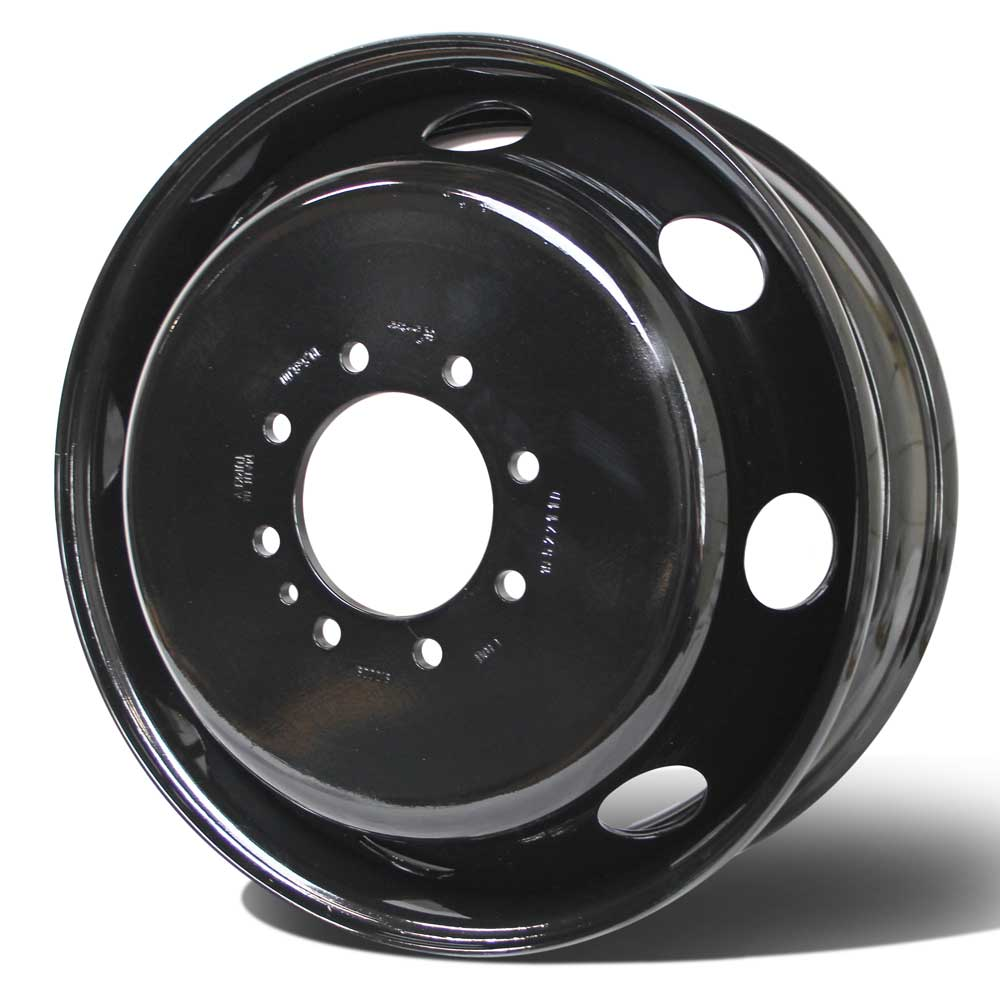 "19.5x6.00 8x6.5"" Black Steel (Chevy/GM 3500 DRW 1973-2010) Set of 6"