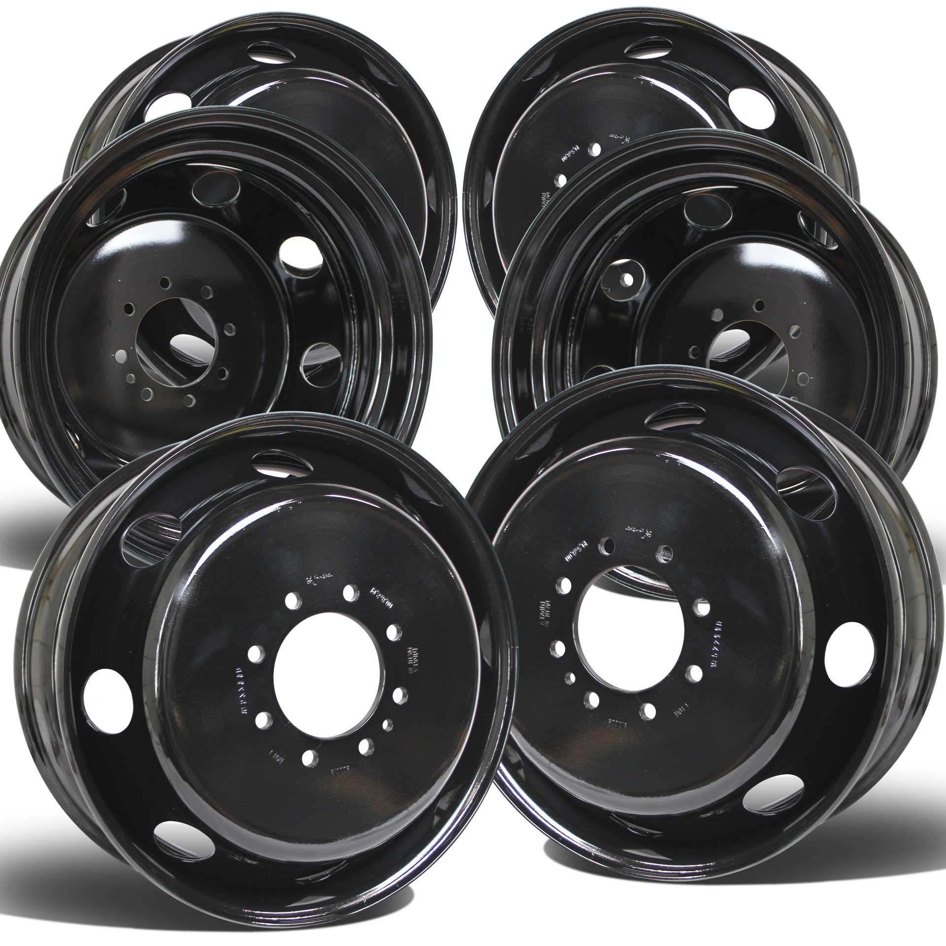 19.5x6.75 Set of 6 8x200mm Black Steel Ford F350 (2005-Present)