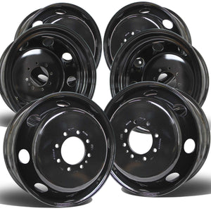 "19.5x6.75 8x6.5"" Black Steel (Dodge Ram 3500 1994-2018) Set of 6"
