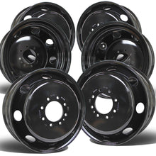 "Load image into Gallery viewer, 19.5x6.75 Set of 6 8x6.5"" Black Steel (Chevy/GM 3500 DRW 1973-2010)"