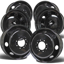 "Load image into Gallery viewer, 19.5x6.00 8x6.5"" Black Steel (Chevy/GM 3500 DRW 1973-2010) Set of 6"