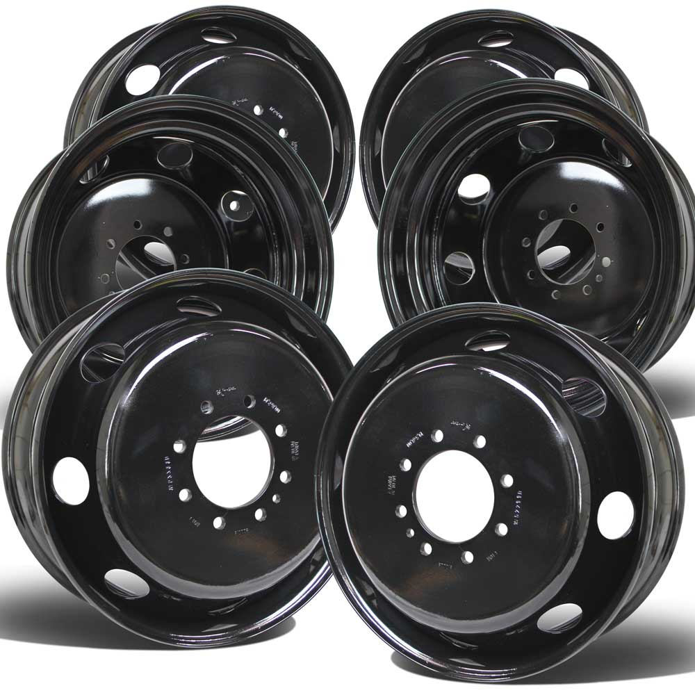 "19.5x6.00 8x6.5"" Black Steel (Ford F350 DRW 1998-2004) Set of 6"