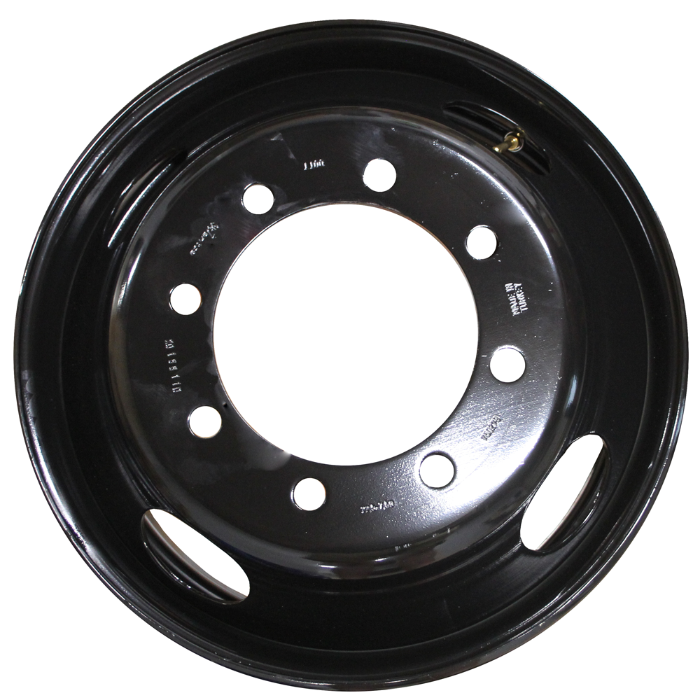 Front View 22.5x7.50 Jantsa 8x275mm Hub Pilot 4 Hand Hole Black Steel
