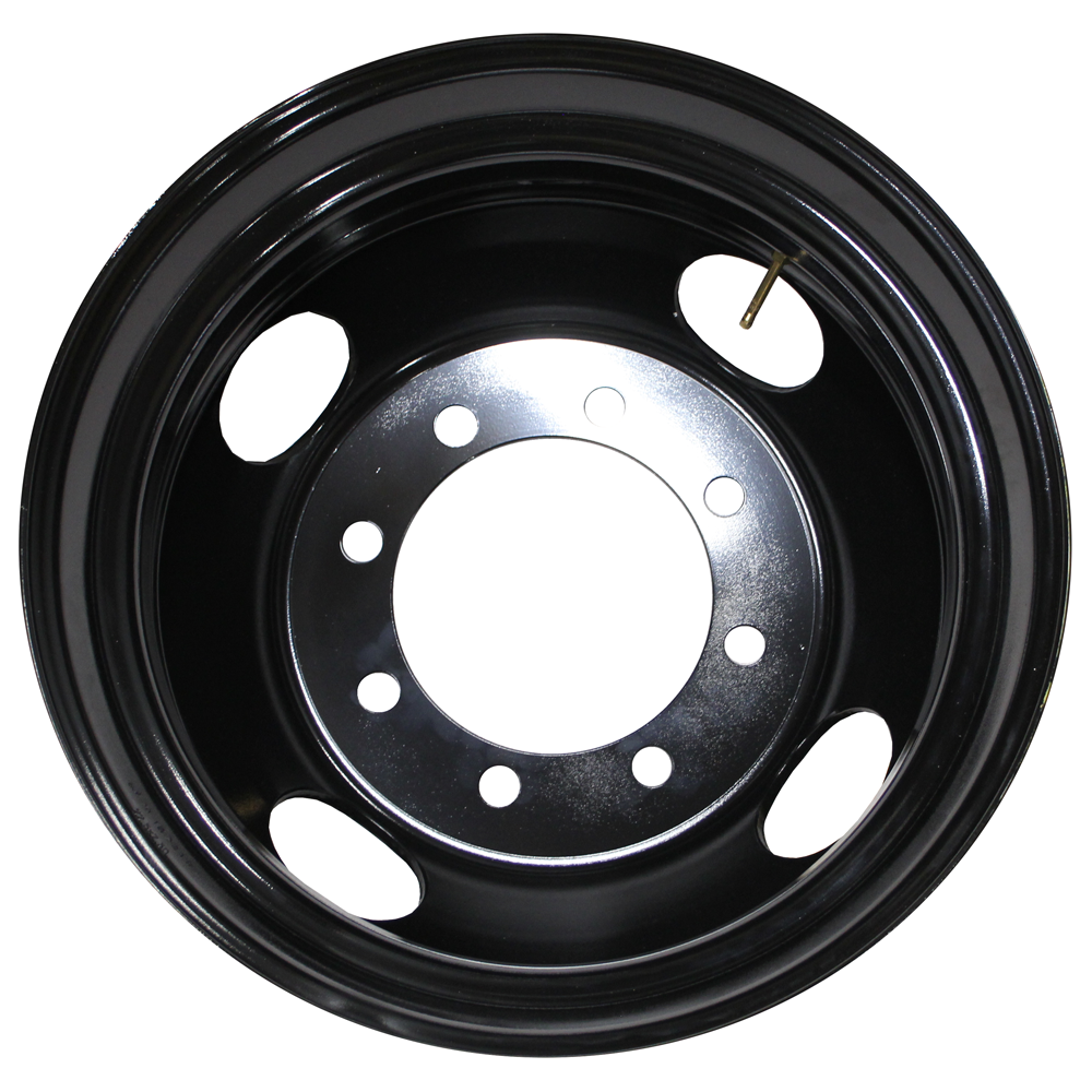 Rear View 22.5x7.50 Jantsa 8x275mm Hub Pilot 4 Hand Hole Black Steel