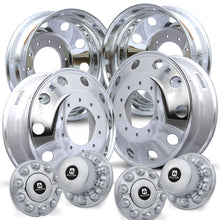 "Load image into Gallery viewer, 4 Wheel Kit of Alcoa 19.5"" x 6"" Aluminum Wheels. 10 Lug Wheels come with Hub Covers and Hex Nuts."