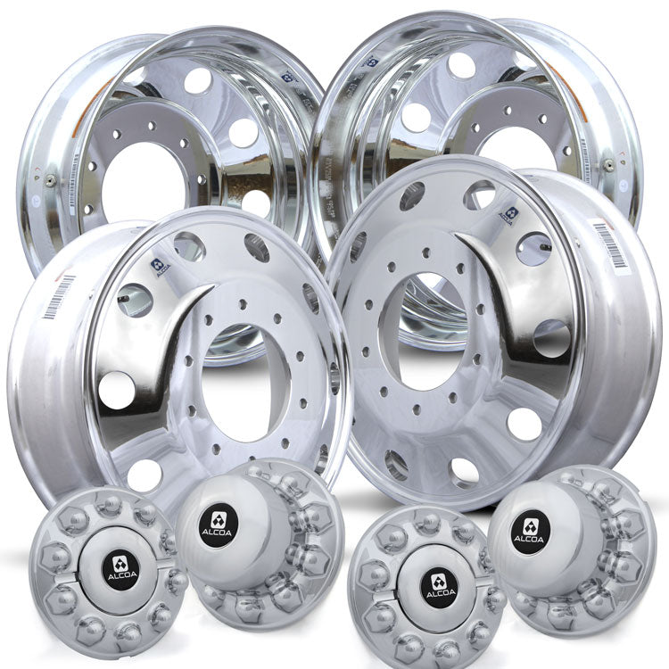 "4 Wheel Kit of Alcoa 19.5"" x 6"" Aluminum Wheels. 10 Lug Wheels come with Hub Covers and Hex Nuts."