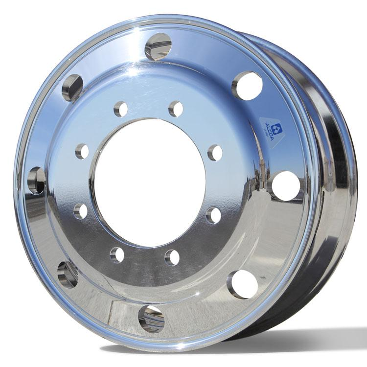 Front View of 22.5x7.5 Alcoa 8x275mm Hub Pilot High Polished Both Sides