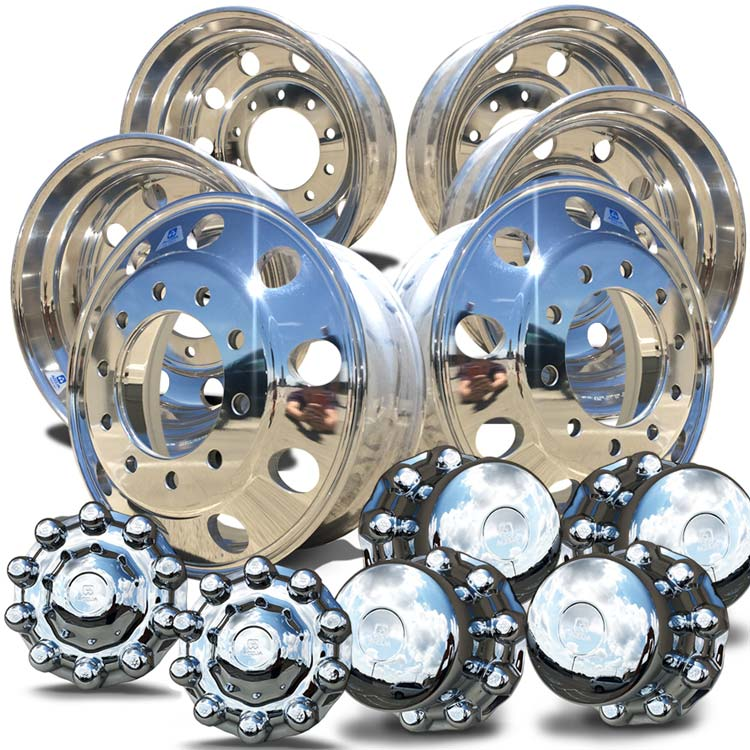 "Alcoa's Mirror Polish on 22.5"" x 8.25"" 6 Wheel Kit with One Piece Hub Cover Option"