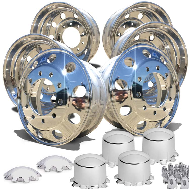 "Alcoa's Mirror Polish on 22.5"" x 8.25"" 6 Wheel Kit with Multi Piece Hub Cover Option"