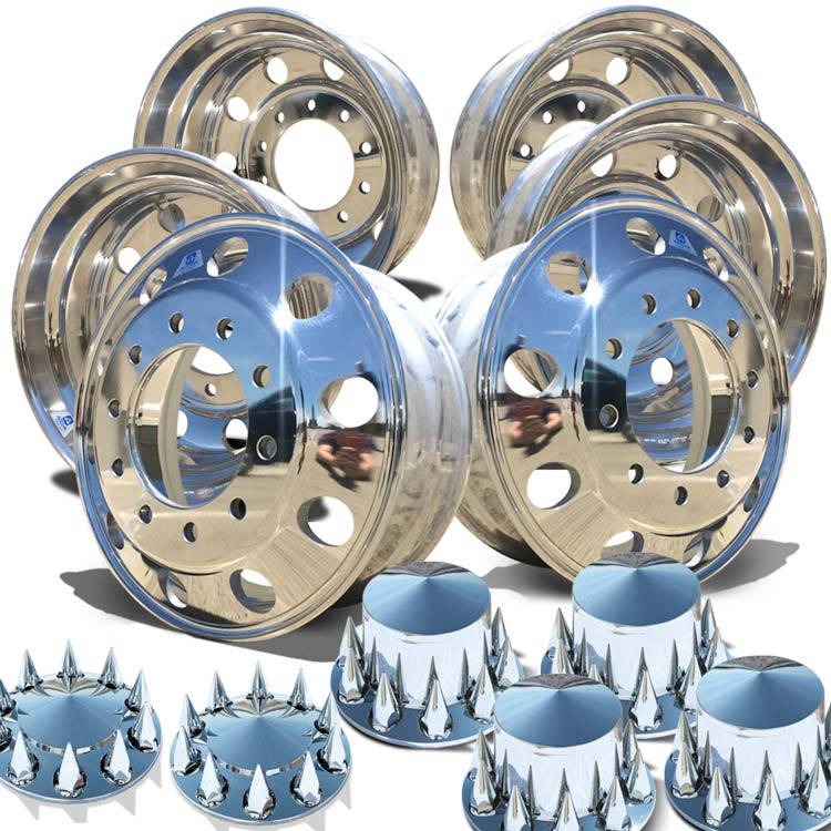 "Alcoa's Mirror Polish on 22.5"" x 8.25"" 6 Wheel Kit with Pointed Caps Spiked Nut Cover Option"