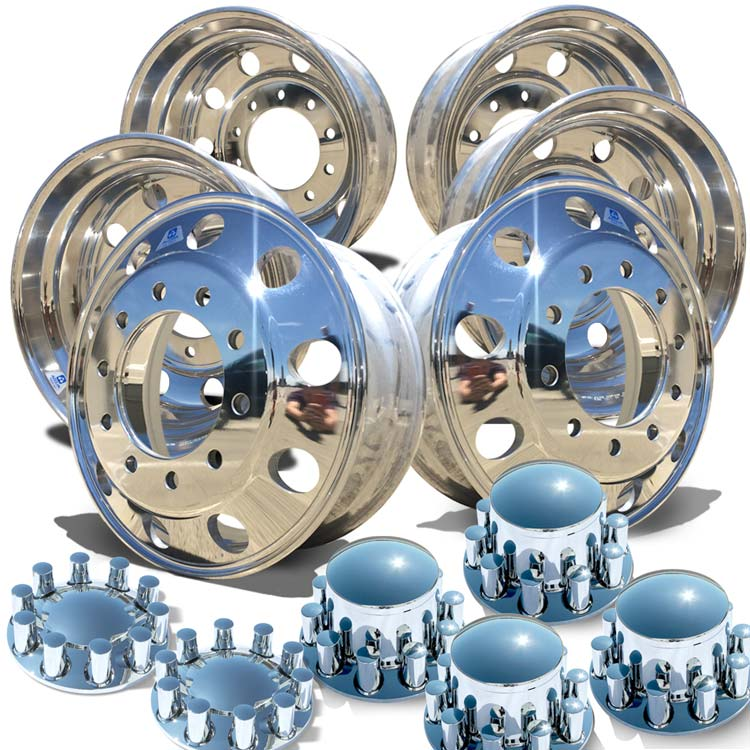"Alcoa's Mirror Polish on 22.5"" x 8.25"" 6 Wheel Kit with Rounded Caps Barrel Nut Cover Option"